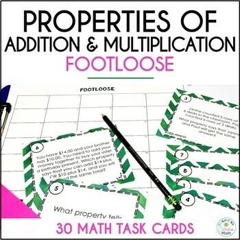 Properties Task Cards -Footloose Activity-Commutative, Ass