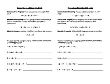 Properties Math Journal Notes SOL 4.16