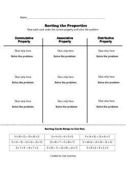Properties (Mult) - math Card Sort -SORTING THE PROPERTIES
