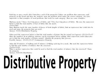 Properties of Math: Distributive, Commutative, Associative, Identity..