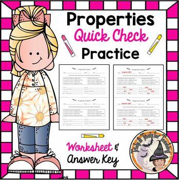 Properties Practice with Answer KEY Distributive Commutative Associative Etc.