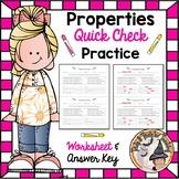 Properties Practice Exit Ticket with KEY Distributive Commutative Associative