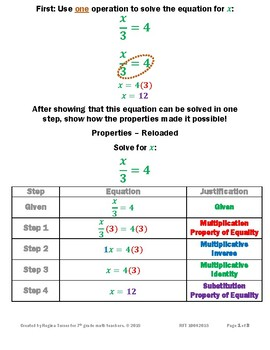 Properties Reloaded - Properties Used to Justify Steps of an Equation