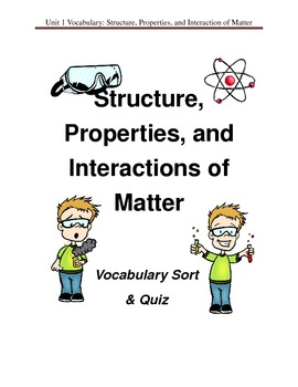 Properties, Structure, and Interactions of Matter - Vocabulary Cards & Quiz