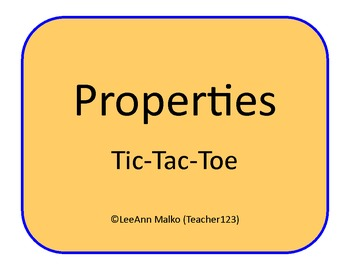 Properties Tic-Tac-Toe