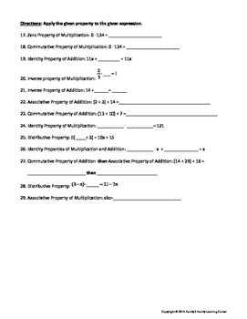 Properties Worksheet