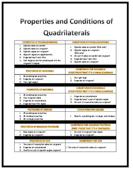 Properties and Conditions of Quadrilaterals Handout