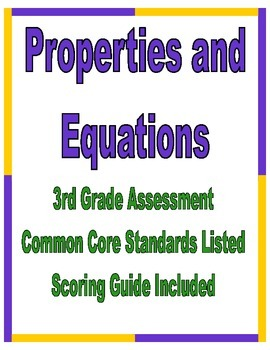 Properties and Equations 3rd Grade Assessment