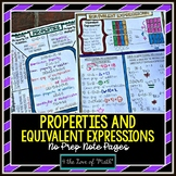 Properties and Equivalent Expressions No Prep Note Page