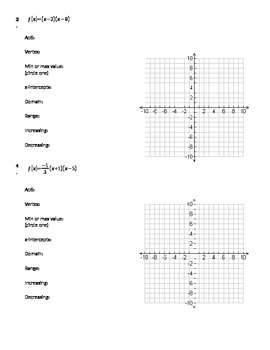 Properties and Graphs of Parabolas