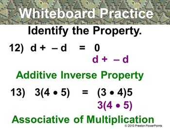 Properties and Mental Computation in a PowerPoint Presentation