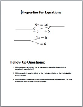 Properties for Equations Cloze Notes for Students