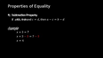Properties from Algebra - PowerPoint Lesson (2.2)