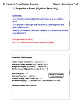 Properties in Proofs - Algebraic Reasoning (Lesson with Homework)