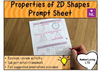Properties of 2D Shapes (Prompt Sheet)