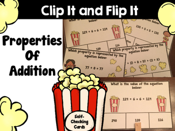 Properties of Addition Clip It & Flip It:  Self- Checking Cards