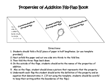 Properties of Addition Flip-Flap Book