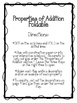 Properties of Addition Foldable. Flip Flap Book. Math Interactive Notebook