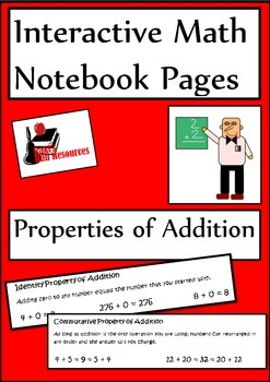 Properties of Addition Lesson for Interactive Math Notebooks