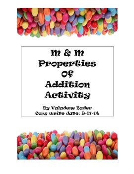 Properties of Addition M & Ms Candy Activity