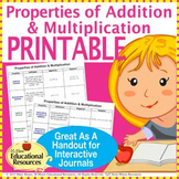 Properties of Addition & Multiplication - PRINTABLE - for Interactive Notebooks