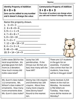 Properties of Addition Practice Page