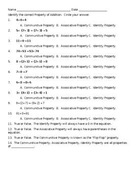 Properties of Addition Quiz