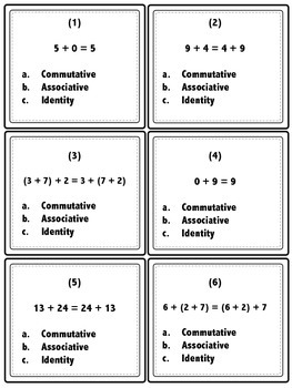 Properties of Addition Task Cards and More