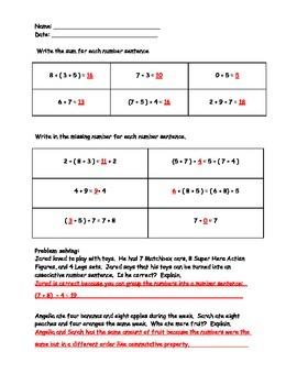 Properties of Addition Worksheet