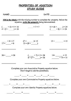 Properties of Addition Worksheets, Study Guide, and Test