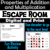 Properties of Addition & Multiplication Activity: Escape Room Math Breakout Game