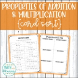 Properties of Addition and Multiplication Card Sort Activity