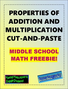 Properties of Addition and Multiplication Cut & Paste FREEBIE