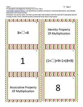 Properties of Addition and Multiplication: Matching Game - Tiered