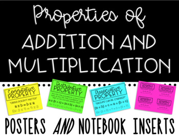 Properties of Addition and Multiplication Posters and Notebook Inserts