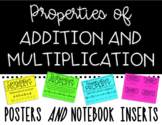 Properties of Addition and Multiplication Posters and Note