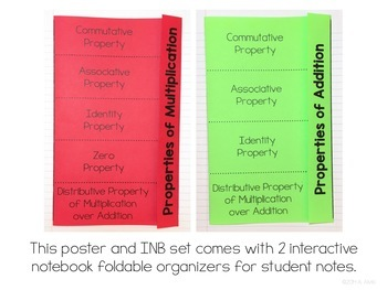 Properties of Addition and Multiplication Posters & Interactive Notebook INB Set