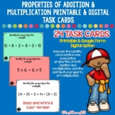 Properties of Addition and Multiplication Printable and Digital Task Cards