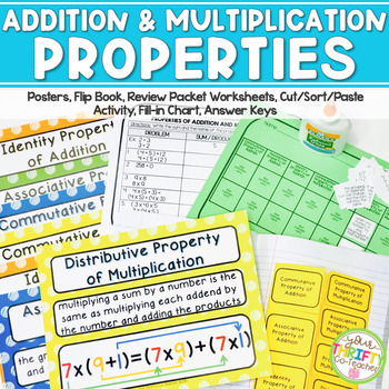 Properties of Addition and Multiplication Unit Posters Worksheets Cut & Paste