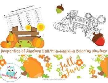 Properties of Algebra Fall/Thanksgiving Color by Number