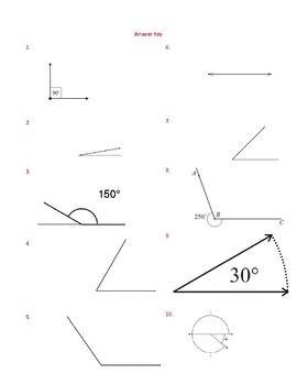 Properties of Angles Assessment (Quiz) & Answer Key