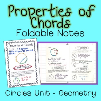 Properties of Chords - Foldable Notes Circles Unit