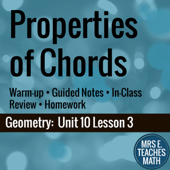 Properties of Chords Lesson