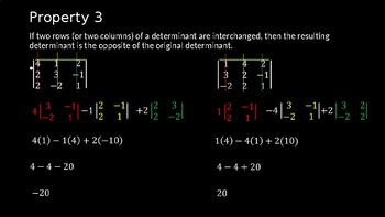 Properties of Determinants - PowerPoint Lesson (11.7)