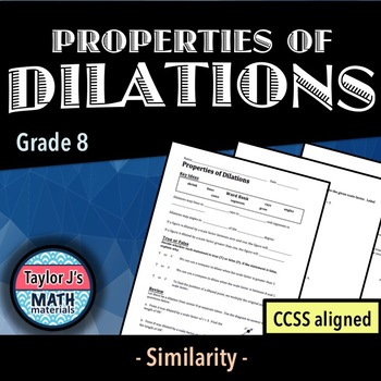 properties of dilations worksheet by taylor js math materials  tpt