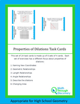 Properties of Dilations Task Cards