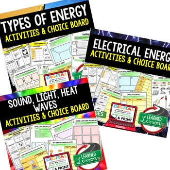 Properties of Energy Choice Boards Activities with Google Drive Link