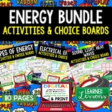 Properties of Energy Activities, Choice Board, Print & Digital, Google
