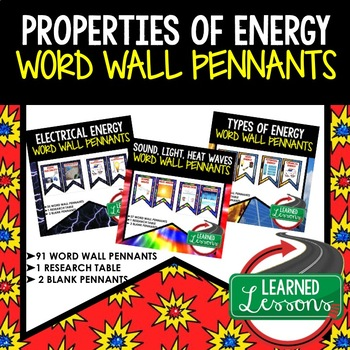 Properties of Energy Word Wall Pennants (Physical Science Word Wall)