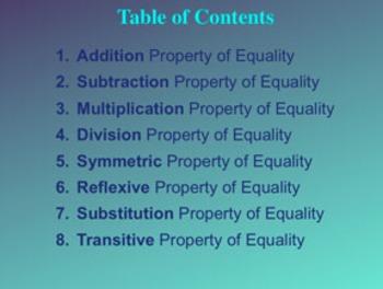 Properties of Equality Algebra